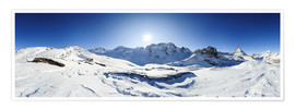 Premium poster  360 degree mountain panorama from Riffelberg above Zermatt with Monte Rosa and Matterhorn in Winter - Peter Wey