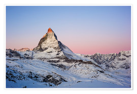 Premium poster  Matterhorn at sunrise, view from Gornergrat, Zermatt, Valais, Switzerland - Peter Wey