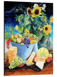 Aluminium print  Still life with sunflowers, fruits and cheese - Gerhard Kraus