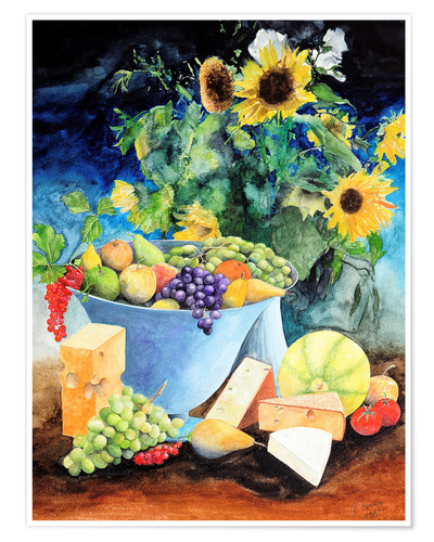 Premium poster Still life with sunflowers, fruits and cheese