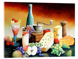 Acrylic print  Stil life with coffee grinder, fruits and cheese - Gerhard Kraus