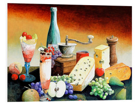 Foam board print  Stil life with coffee grinder, fruits and cheese - Gerhard Kraus