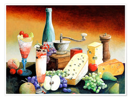 Poster Stil life with coffee grinder, fruits and cheese