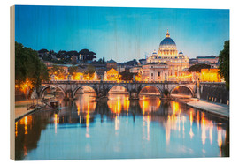 Wood print  St. Peter and Tiber, Rome - Matteo Colombo