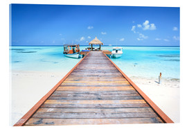 Acrylic print  Pier to tropical blue sea, Maldives - Matteo Colombo