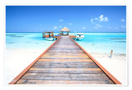 Premium poster  Pier to tropical blue sea, Maldives - Matteo Colombo