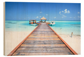 Wood print  Pier to tropical blue sea, Maldives - Matteo Colombo