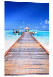 Acrylic print  Pier into the ocean, Maldives - Matteo Colombo