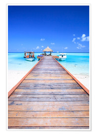 Premium poster Pier into the ocean, Maldives