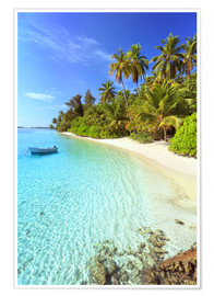 Premium poster Tropical beach with a boat, Maldives