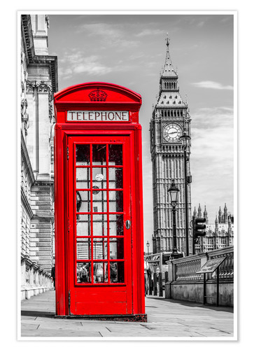Red Telephone and Big Ben in London City Poster Wall Prints Premium Glossy Art