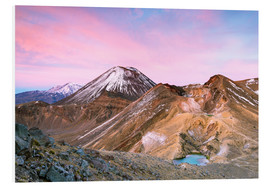 Foam board print  Awesome sunrise on Mount Ngauruhoe and red crater, Tongariro crossing, New Zealand - Matteo Colombo