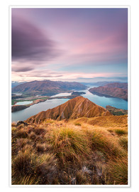 Premium poster  Awesome sunset over Wanaka lake from Mt Roy, Otago, New Zealand - Matteo Colombo