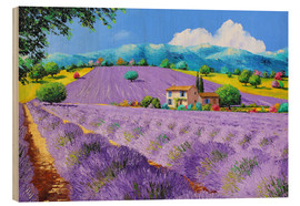 Wood print  Lavenders under sunshine - Jean-Marc Janiaczyk