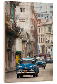 Wood print  Taxis in Avenue Colon, Cuba - Lee Frost