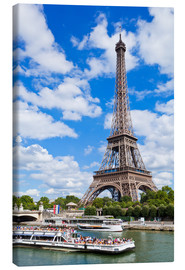 Canvas  Tour boat on River Seine with Eiffel Tower - Neale Clarke