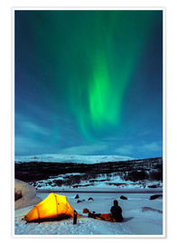 Premium poster  Northern lights and camp - Christian Kober