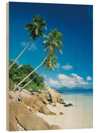 Wood print  Anse Severe With Praslin Island in Background, La Digue, Seychelles - Lee Frost