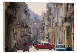 Wood print  In the streets of Havana - Lee Frost