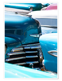 Premium poster  Vintage American cars parked on a street in Havana Centro, Havana, Cuba, West Indies, Central Americ - Lee Frost