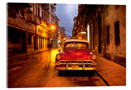 Acrylic print  Red vintage American car in Havana - Lee Frost