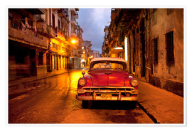Premium poster Red vintage American car in Havana