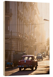 Wood print  Oldtimers in Havana - Lee Frost