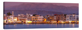 Canvas print  Harbor at dusk, Chania, Crete - John Miller