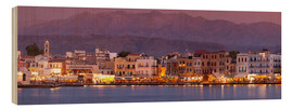 Wood print  Harbor at dusk, Chania, Crete - John Miller