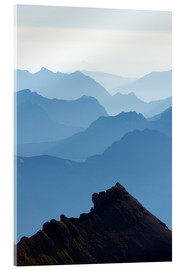 Acrylic print  Mountain silhouette at dawn, Jungfrau-Aletsch, UNESCO World Heritage Site, Swiss Alps, Switzerland, - Christian Kober