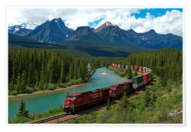 Premium poster  Morants bend with railroad and Bow River - Hans-Peter Merten