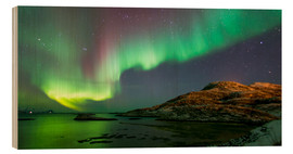 Wood print  Northern Lights near Tromso, Norway - Louise Murray
