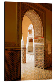 Aluminium print  Large patio columns with azulejos decor, Islamo-Andalucian art, Marrakech Museum, Marrakech, Morocco - Guy Thouvenin