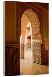 Wood print  Large patio columns with azulejos decor, Islamo-Andalucian art, Marrakech Museum, Marrakech, Morocco - Guy Thouvenin