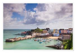 Premium poster Tenby Harbour, Pembrokeshire, West Wales, Wales, United Kingdom, Europe