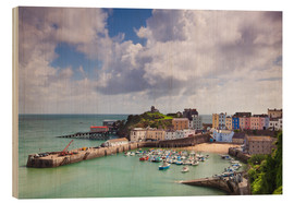 Wood print  Tenby Harbour, Pembrokeshire, West Wales, Wales, United Kingdom, Europe - Billy Stock