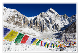 Premium poster  Prayer flags at the case camp of Mount Everest - Christian Kober