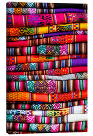 Canvas print  Woven blankets at a market, Cuzco - Yadid Levy