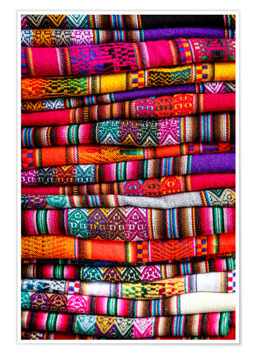 Premium poster Woven blankets at a market, Cuzco
