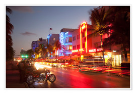 Premium poster  Ocean Drive, South Beach, Art Deco district, Miami Beach, Miami, Florida, United States of America, - Angelo Cavalli