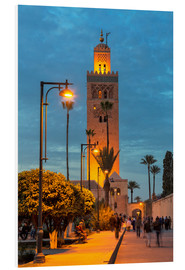 Foam board print  The Minaret of Koutoubia Mosque illuminated at night, UNESCO World Heritage Site, Marrakech, Morocco - Martin Child