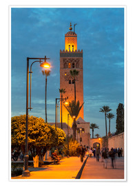 Premium poster The Minaret of Koutoubia Mosque illuminated at night, UNESCO World Heritage Site, Marrakech, Morocco
