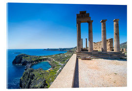 Acrylic print  Acropolis of Lindos, Rhodes, Dodecanese Islands, Greek Islands, Greece, Europe - Michael Runkel