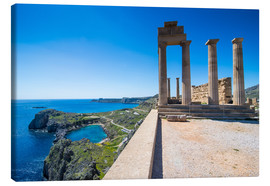 Canvas print  Acropolis of Lindos, Rhodes, Dodecanese Islands, Greek Islands, Greece, Europe - Michael Runkel