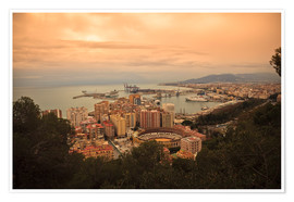 Premium poster  High angle view of Malaga cityscape with bullring and docks - Ian Egner