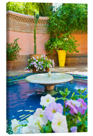 Canvas print  Fountain and flowers in the Majorelle Gardens (Gardens of Yves Saint-Laurent), Marrakech, Morocco, N - Matthew Williams-Ellis