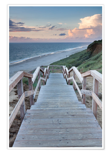 Premium poster Stairs down to the beach, Sylt