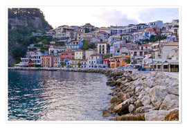 Premium poster Harbor of Parga, mainland Greece, Greece, Europe