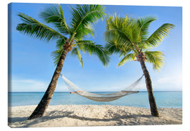 Canvas  Hammock at the beach with palm trees in the south pacific - Jan Christopher Becke