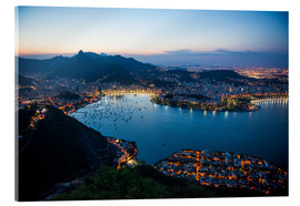 Acrylic print  View from the Sugarloaf at sunset, Rio de Janeiro, Brazil, South America - Michael Runkel